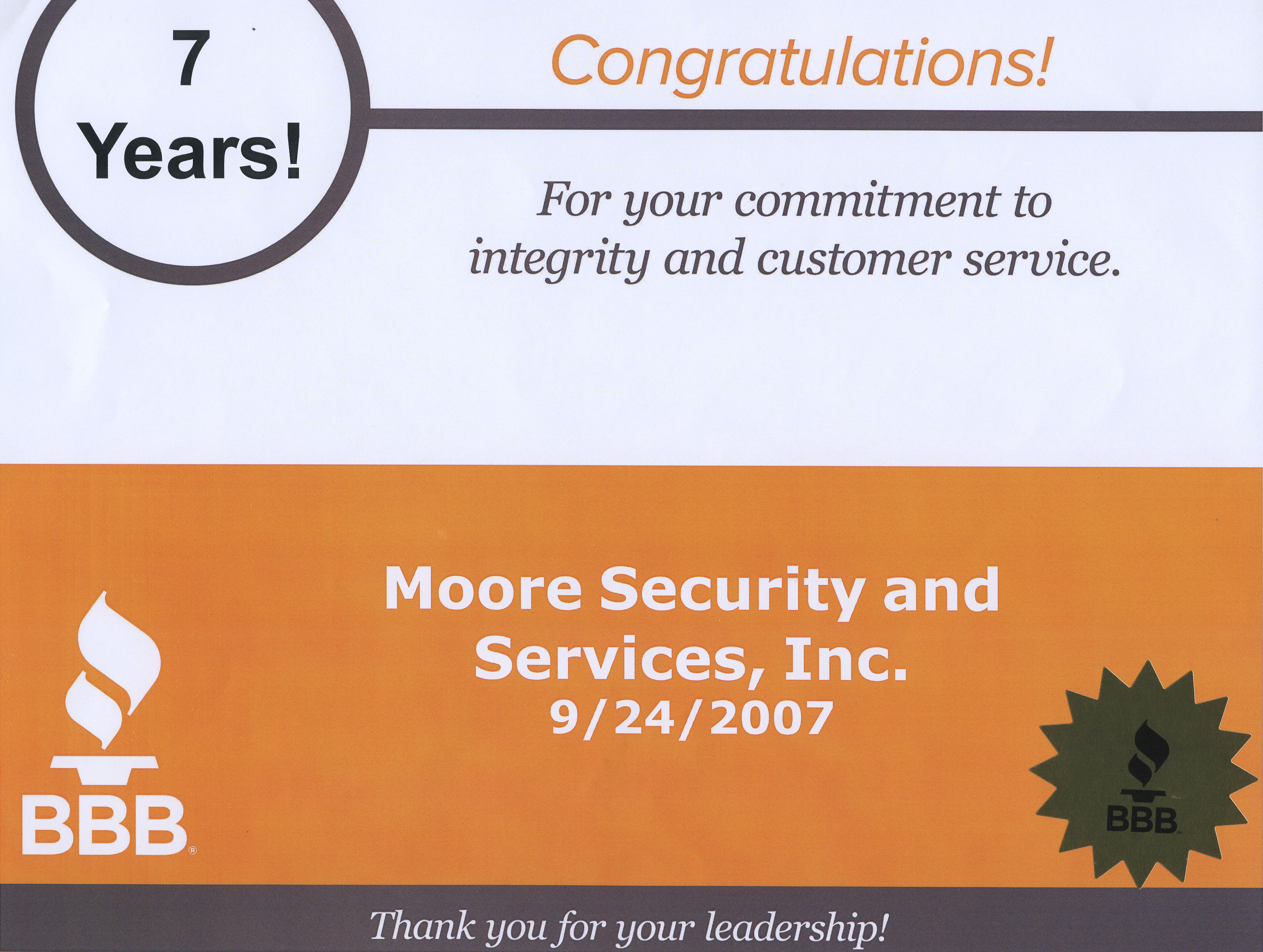 Moore Security BBB Award